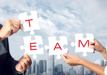 team working together: Concept of team that works together Stock Photo