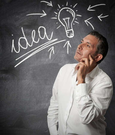 idea lamp: Businessman thinking about new ideas