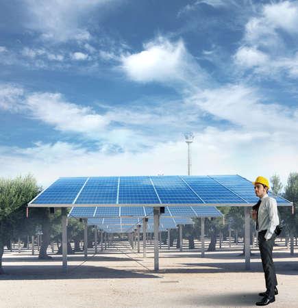 paneles solares: Hombre de negocios en una instalaci�n de paneles solares