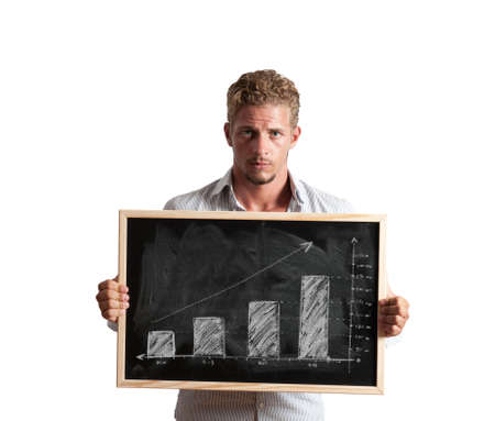 Businessman show positive trend in a blackboard Stock Photo - 15948641