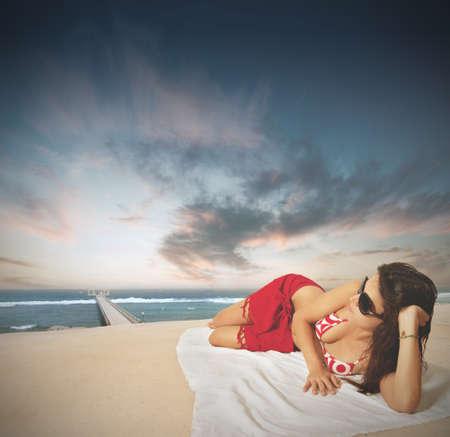 Sexy girl on the beach photo