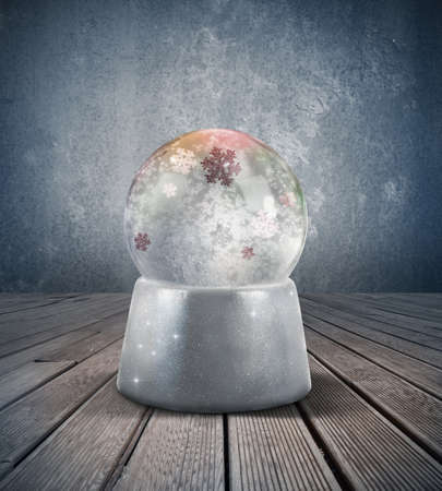 Glowing snow sphere in a vintage room photo