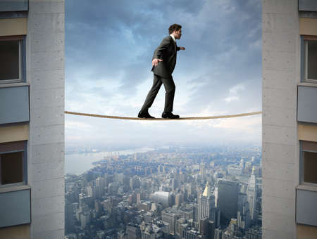 equilibrium: Concept of businessman and difficult business