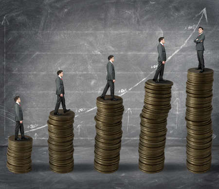 stack of money: concept of success in business and gain Stock Photo