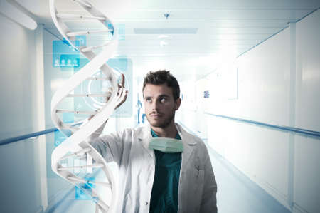 Doctor and touch screen system Stock Photo - 16498243