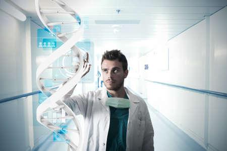 adn humano: El doctor y la pantalla táctil del sistema