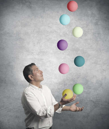 Easy business concept with juggler businessman Stock Photo - 16498270