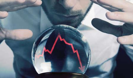 financiele crisis: Concept van prognoses van de financiële crisis Stockfoto
