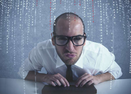 business software: Concept of computer and software programmer Stock Photo