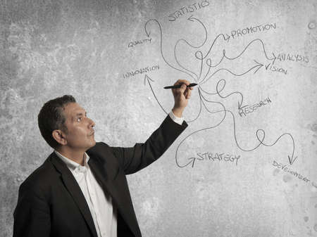 Businessman drawing business concept with a pen photo