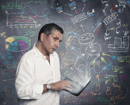 vpn: Concept of new idea of a businessman