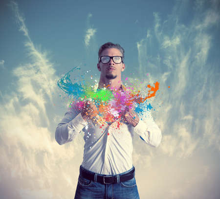 powerful creativity: Concept of creativity and power in business Stock Photo