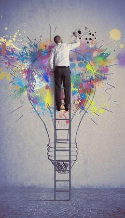 큰 창의적 사업 아이디어의 개념 스톡 콘텐츠