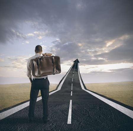 leiderschap: Concept van de carrière en het succes van een zakenman
