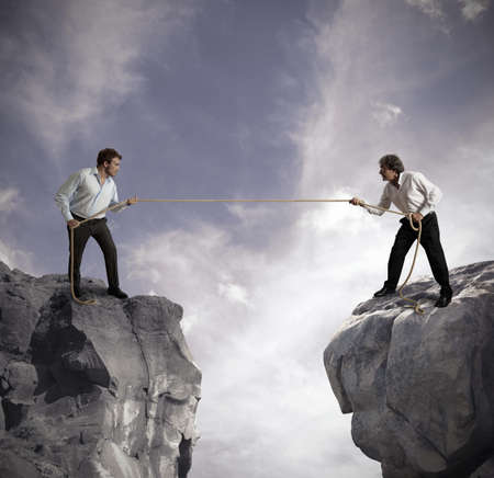 struggling: Concept of competition in business affairs Stock Photo
