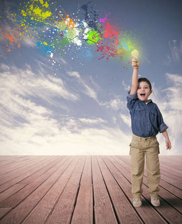 free the brain: Happy child with a new idea