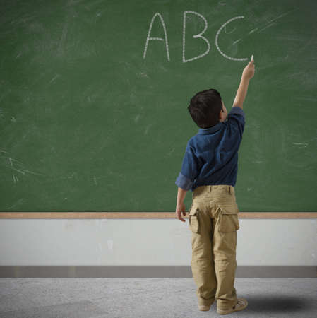 infant school: Concept of simple letton of child at school Stock Photo