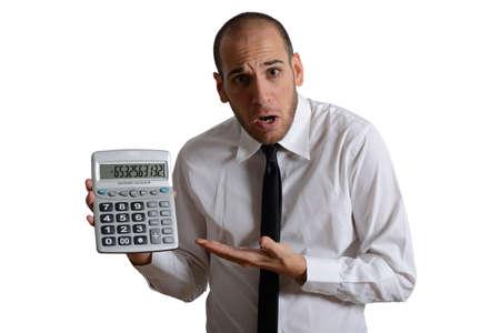 salaires: L'imp�t et le concept de crise avec homme d'affaires et nombre n�gatif