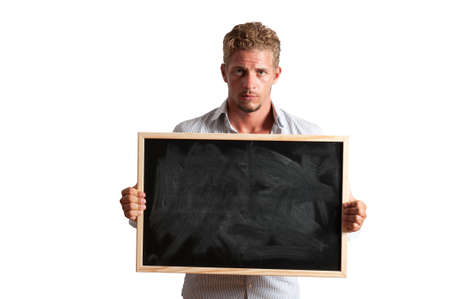 Young boy with blackboard for your message Stock Photo - 17388140