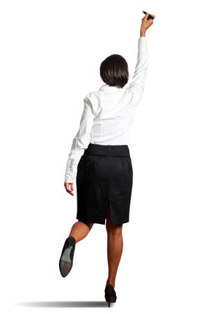 Isolated young businesswoman drawing on wihteboard Stock Photo - 17387508