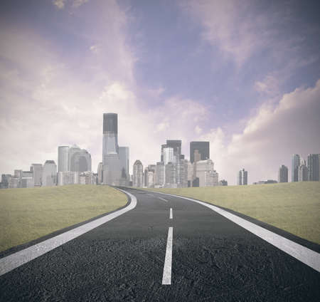 america countryside: Concept of road to success Stock Photo