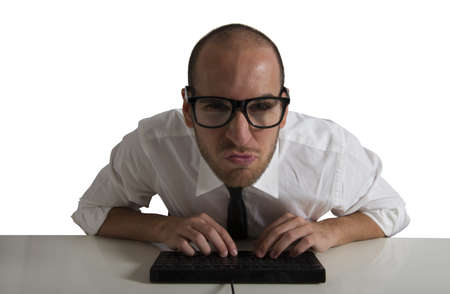 Businessman works with the computer Stock Photo - 17455035