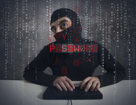 Concept of hacker locates a password Stock Photo - 17534628