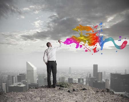 rascacielos: Concepto de negocio creativo con el empresario saca Foto de archivo