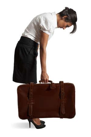 Tired businesswoman on white background Stock Photo - 17563155