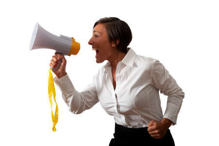 Girl with megaphone on white background Stock Photo - 17563153