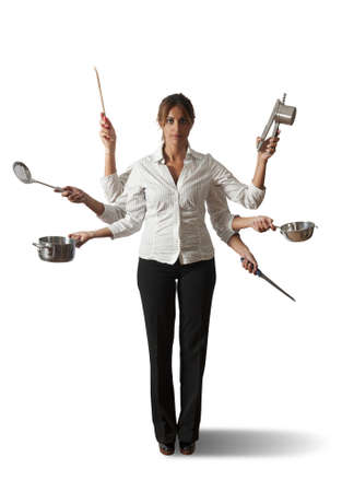 ladles: Multitasking woman in kitchen concept