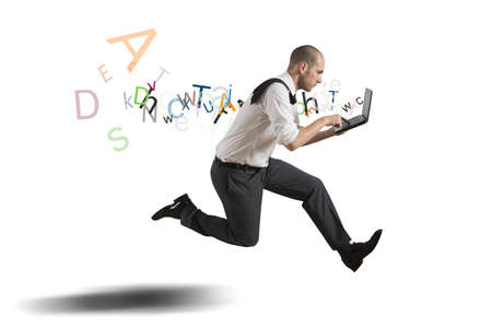 running businessman: Challenge in business with running businessman with laptop