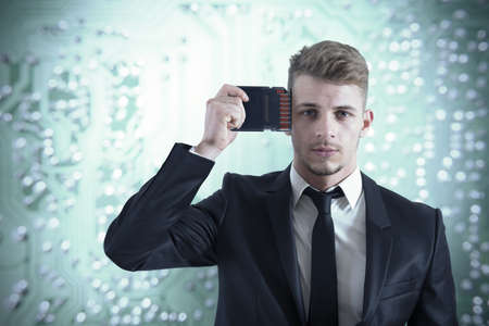 upgrade: Concept of memory upgrade of a businessman