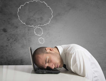 delusion: Businessman dreams while sleeping concept