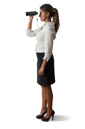Businesswoman with binocularson white background photo