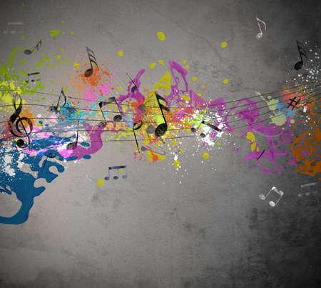 musical notes: Grunge fondo musical con aerosol