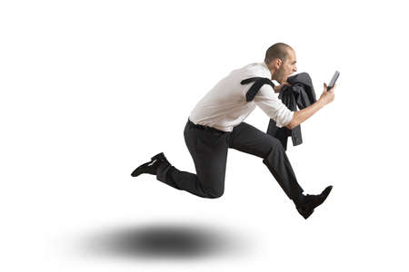 urgency: Running businessman on white background Stock Photo
