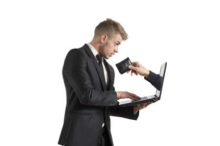earn money online: Concept of being robbed by a scam Stock Photo