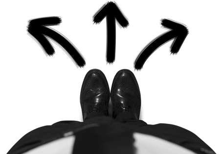 change concept: Concepto de opciones de un hombre de negocios Foto de archivo