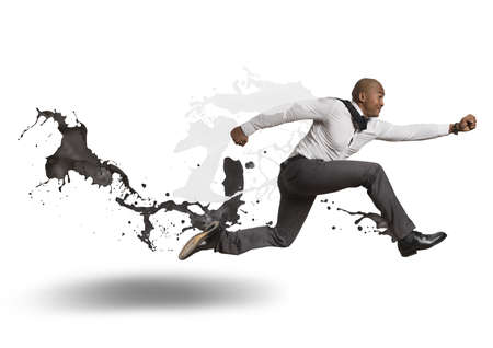 action blur: Concept of challenge in business Stock Photo