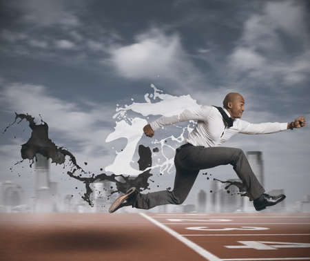 jumping businessman: Concept of challenge in business Stock Photo
