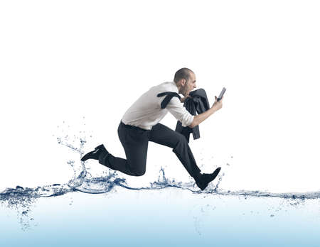 crazy man: Concept of of stress with businessman running on the water Stock Photo