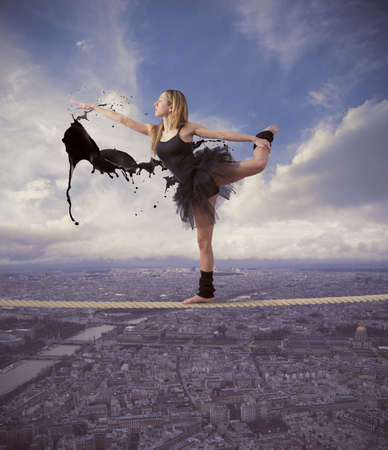 Concept of dancer over paris photo