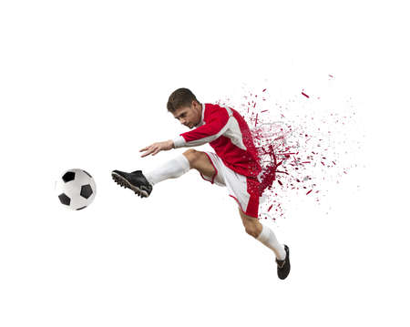 Concept of football player on white background photo