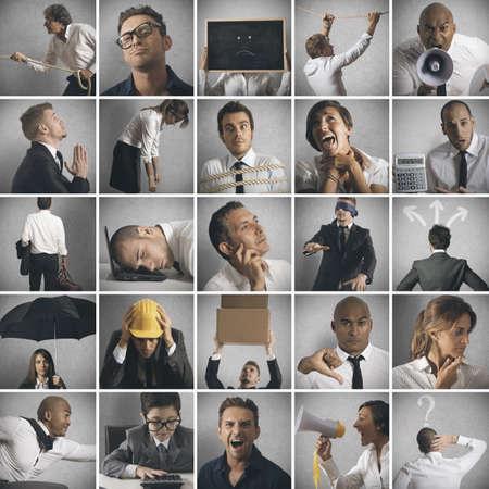 collage caras: Negocios, crisis y el problema collage concepto