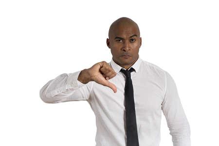 hombre pobre: Concepto de empresario satisfecho sobre fondo blanco