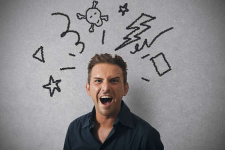 delusion: Concept of businessman with angry expression