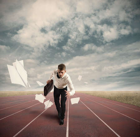 chasing: Business Competition with running businessman on the track