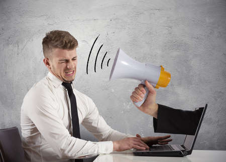 man yelling: Web advertising and spam concept with businessman and megaphone