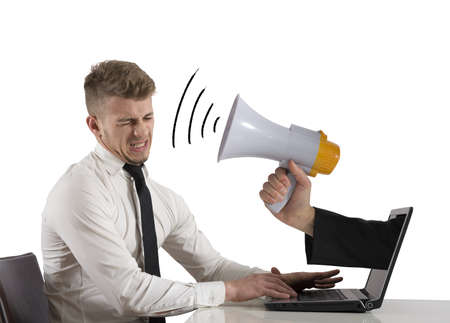 Web advertising and spam concept with businessman and megaphone